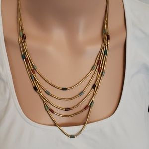 Jewelry - Multi strand gold beaded adjustable necklace